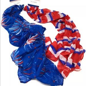 Accessories - Scarves Red White Blue Designs Two Scarf Bundle